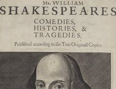 Thumbnail detail of the title page of the First Folio (1623)